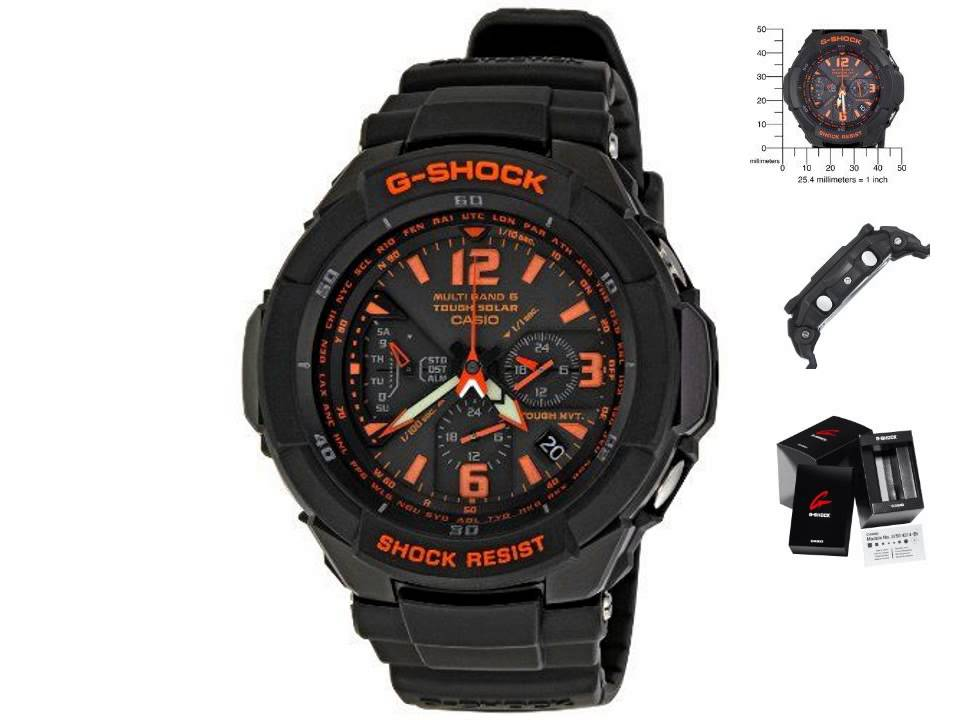 2b8924c2d907 Casio Men s GW3000B 1ACR G Shock Solar Power Black with Orange Dial watch
