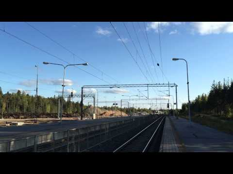 [VR] Pendolino service from Helsinki to Oulu passing Parkano station.