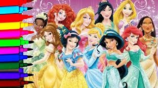 Disney Coloring Page Compilation MLP Anna Elsa Cinderrella Ariel Rapunzel Snow White Jasmine Aurora