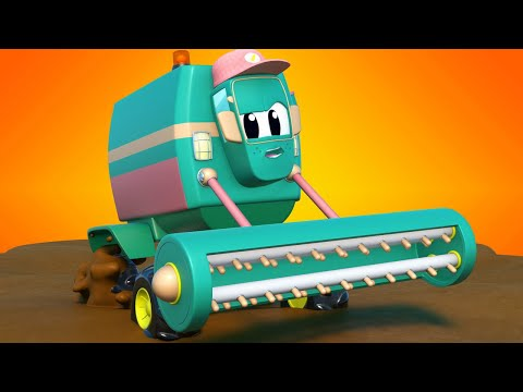 Truck Cartoons For Kids -  Hero STEAM ROLLER Save HARVESTER From MUD - Super Truck In Car City !