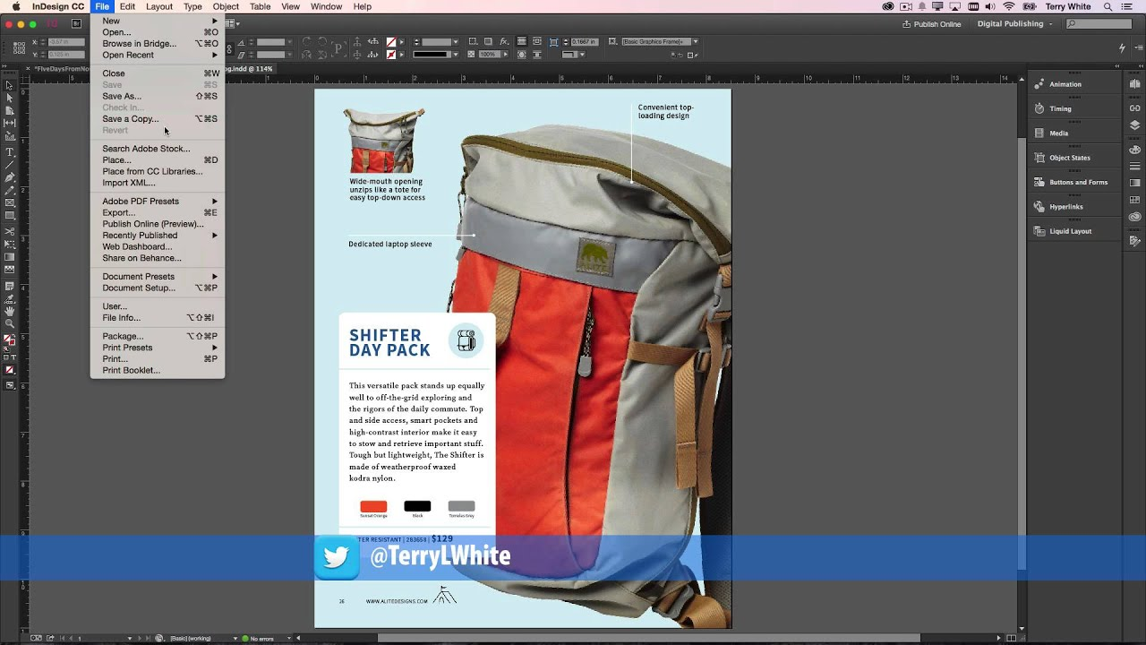 indesign cc 2015 simple save back youtube