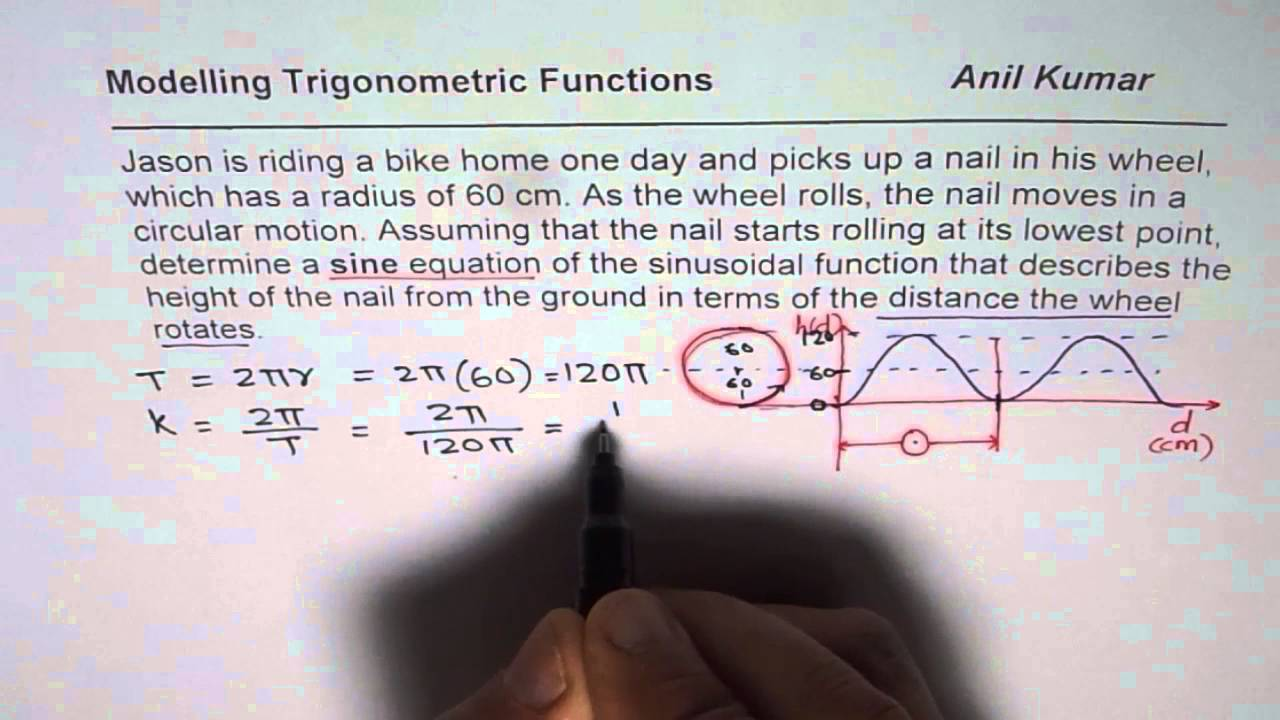 Model height of Nail as Sine Function as Wheel rolls - YouTube