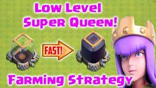 Clash of Clans - Low Level Super Queen Farming Strategy for Fast Dark Elixir! (TH9+ DE Farming)