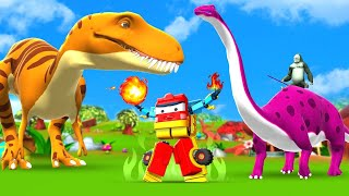 Transformers VS Dinosaurs Fight   Funny Monkey and Elephant Animals Comedy Videos 3D Funny Cartoons