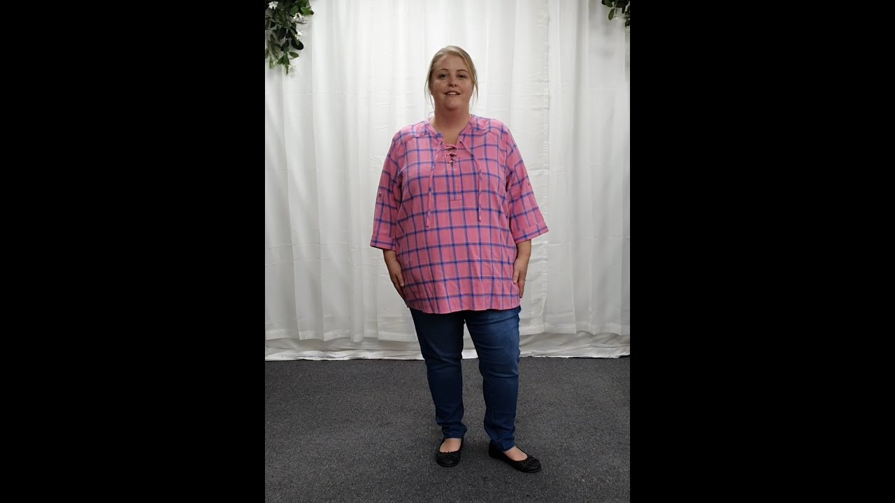 Plus Size Pink and Blue Cotton Tartan Lace Up Blouse