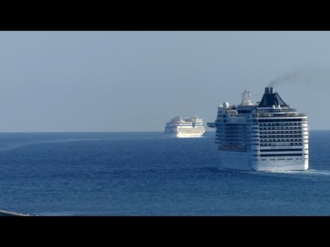 4 Cruise Ships Leaving Barcelona At The Same Time