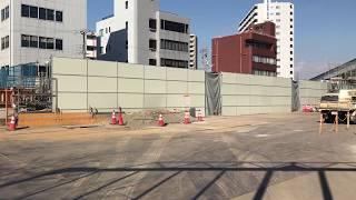 ◆南海トラフ地震津波に備え、防護壁工事をしている 地下進入口 おおさかメトロ 御堂筋線◆