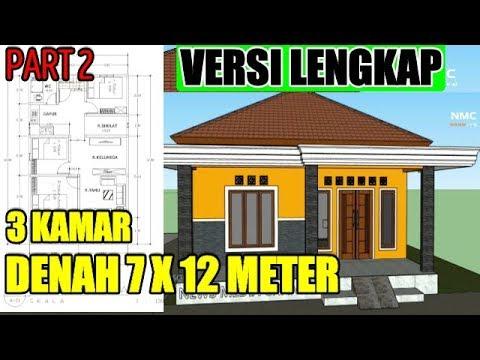 Denah Rumah Ukuran 7x12 3 Kamar Tidur 1 Lantai DENAH LENGKAP PART 2 -  YouTube