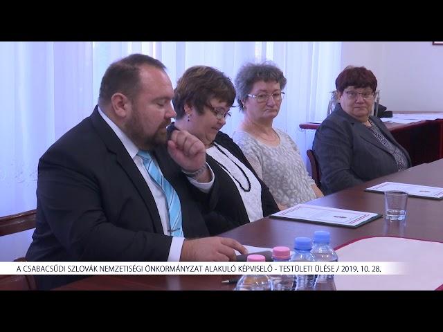 A Csabacsűdi Szlovák Nemzetiségi Önkormányzat alakuló képviselő - testületi ülése (2019. 10. 28.)