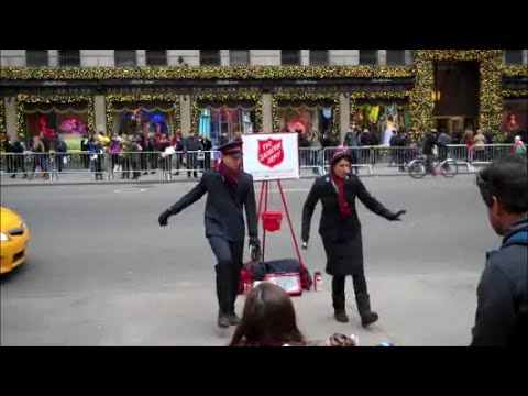 Dancing Bell Ringers of the Salvation Army in New York City