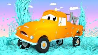 Araba Devriyesi - Çekici  Tom ve Minik Tom'un Su Basıncı sorunu - Araba Şehri! Kamyon Çizgi Filmleri