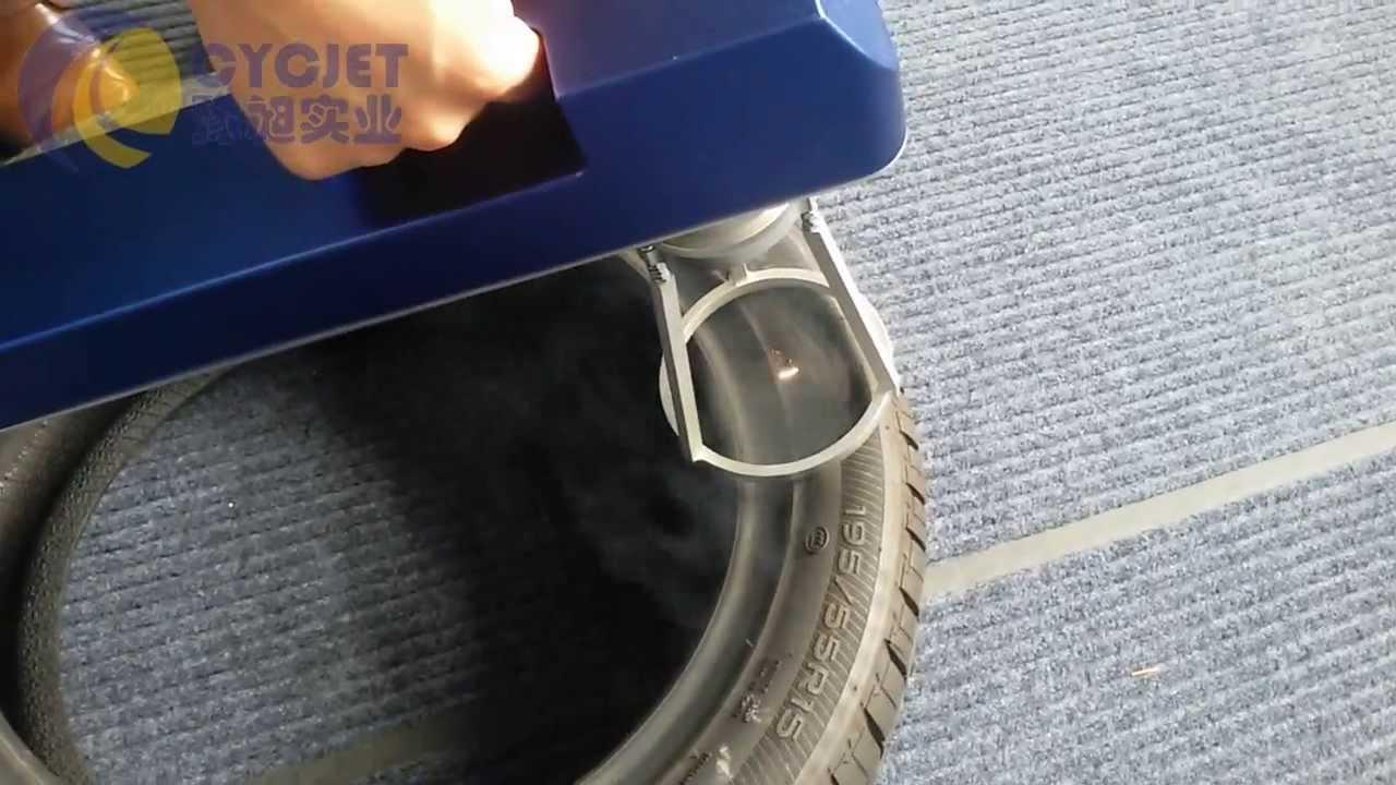 Cycjet Handheld Laser Printer Printing Qr Code On Tyre How