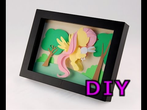DIY How to Make Your Own Fluttershy and Angel MLP 3-D Paper Art Shadowbox