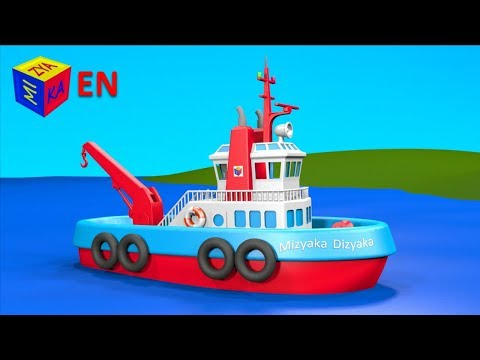 Boats And Ships For Children. Construction Game: Tugboat. Educational Videos Cartoons For Toddlers