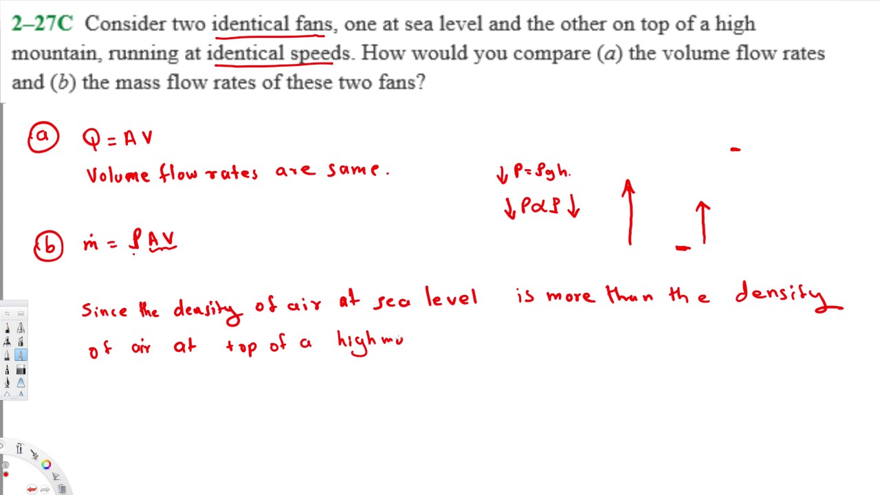 Comparision between mass flow rate and volume