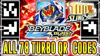 ALL 78 TURBO QR CODES BEYBLADE BURST TURBO APP 100% COLLECTION