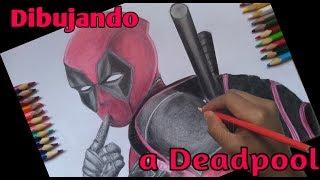 Dibujando a DEADPOOL como colegial XD | Pintado Con CRAYONES ESCOLARES