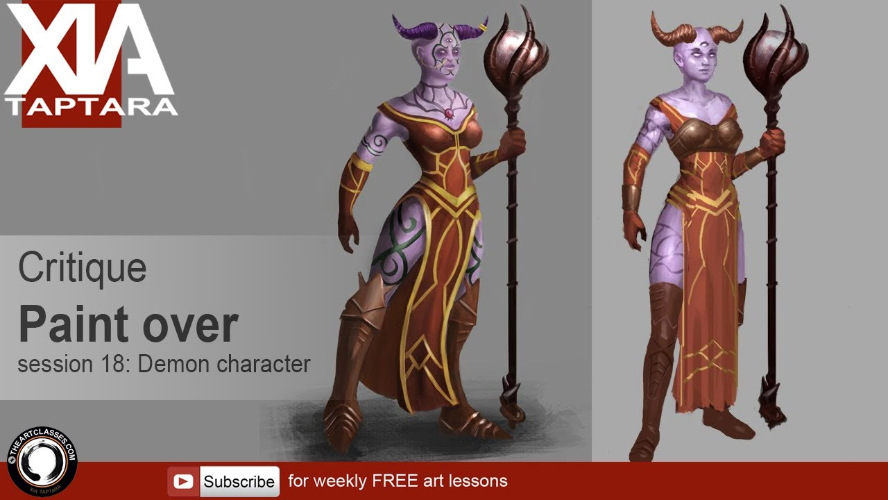 Character Design Session : Character design tutorial critique paint over session