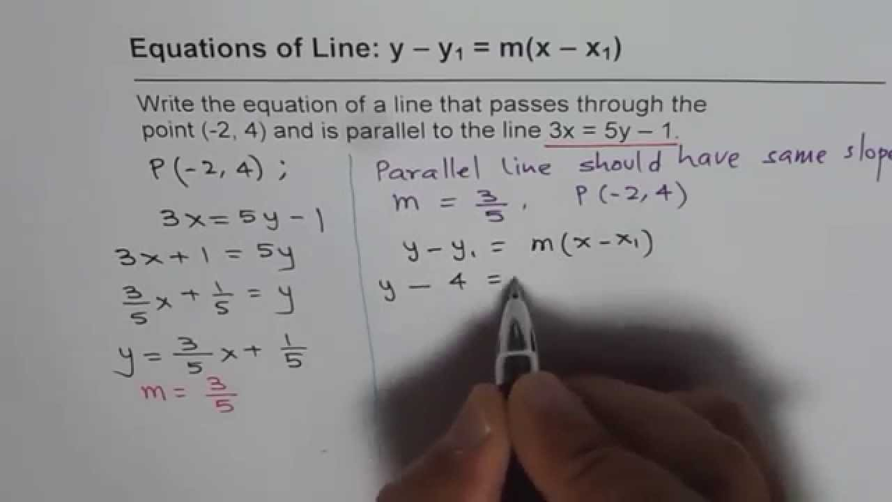 Point slope form for parallel lines equation youtube point slope form for parallel lines equation falaconquin