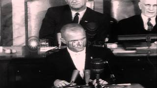 Astronaut John H Glenn Junior addresses the Joint Session of Congress at the Unit...HD Stock Footage