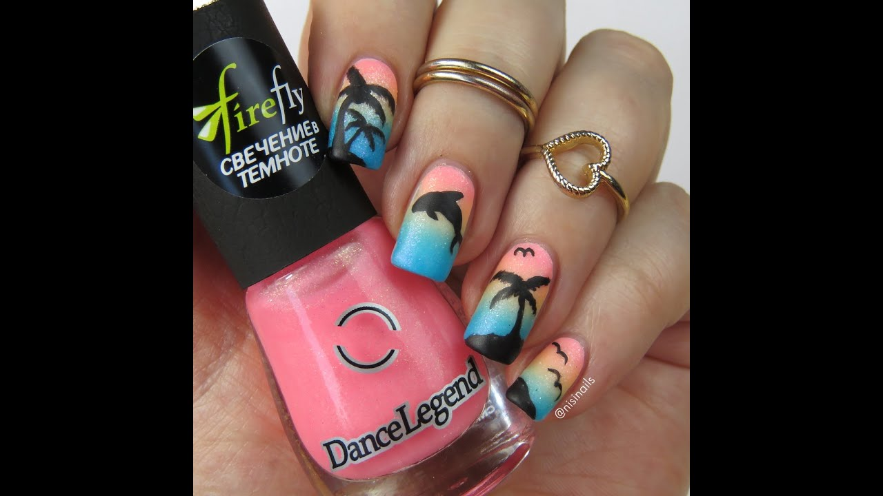 Nail Art Tutorial: Tropical Palm Tree and Dolphin Gradient Nail ...