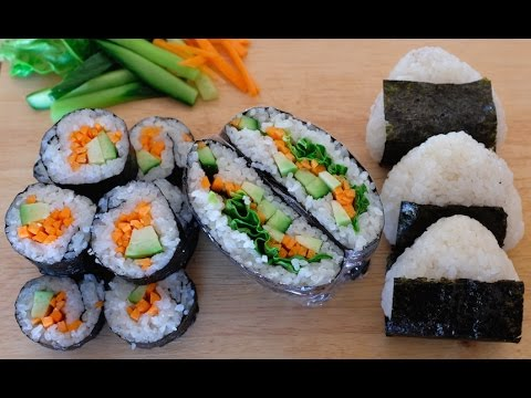 3 Healthy Easy Sushi/Onigirazu/Onigiri Recipes |3 Sain et Facile recettes  de Makis/Onigirazu/Onigiri