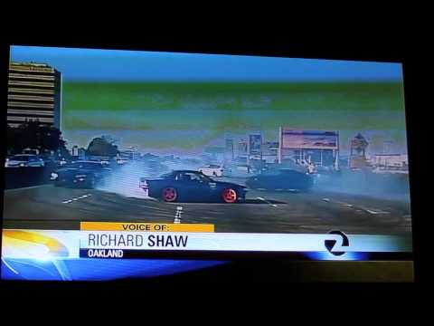 News Segment of Cars Doing Donuts on Hwy 880 in Oakland (HD)
