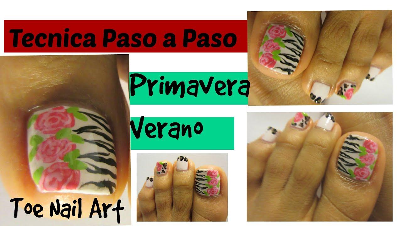 Ideal Primavera-Verano Rosas y estampado animal uñas decoradas pies ...