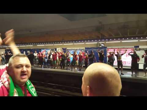 Hungarian fans in Marseille underground station