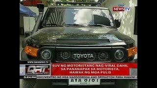 SUV ng motoristang nag-viral dahil sa pananapak sa motorista, hawak ng mga pulis
