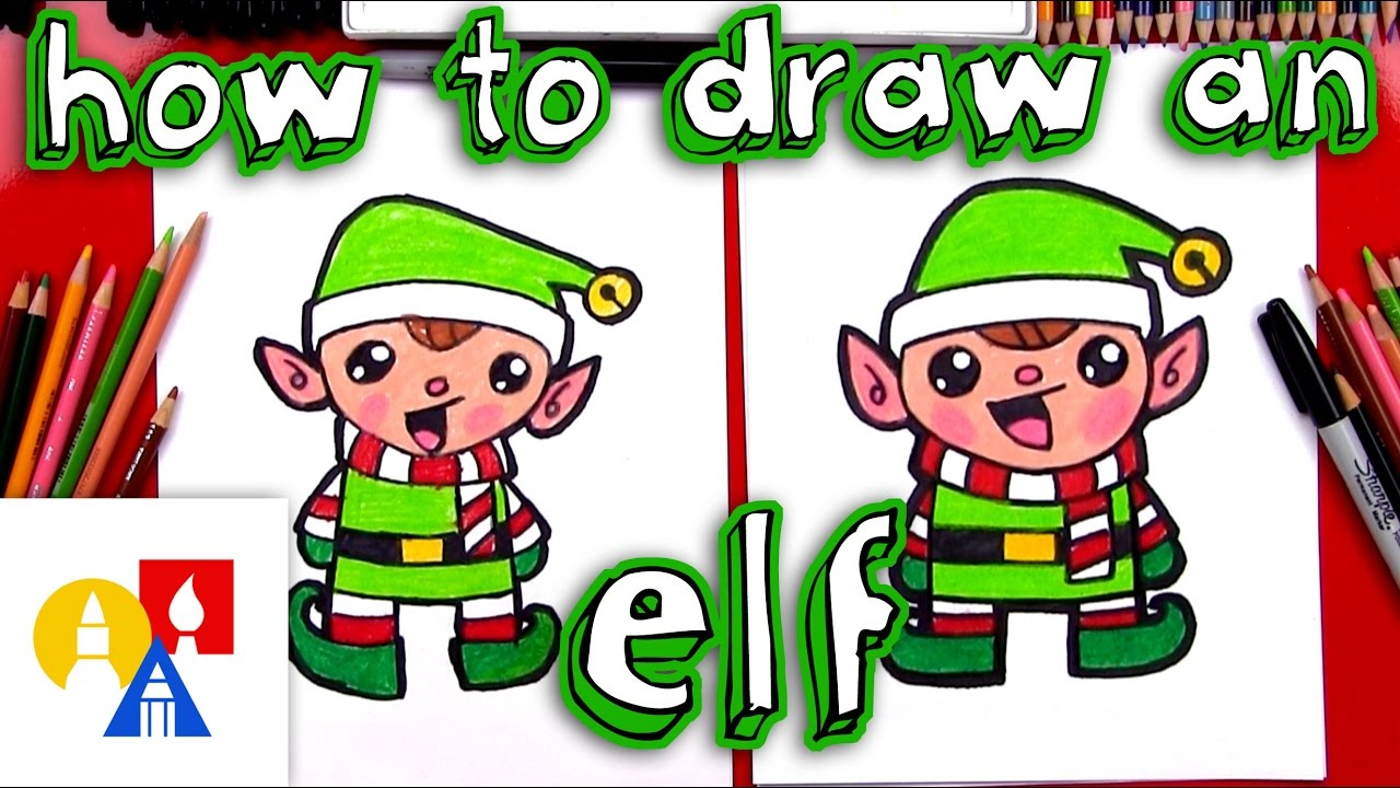 how to draw a cartoon christmas elf - How To Draw A Christmas Elf