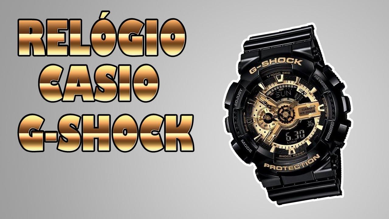 c90b3f86769 Unboxing Relógio Casio G-Shock GA110 Preto e Dourado - Mercado Livre ...