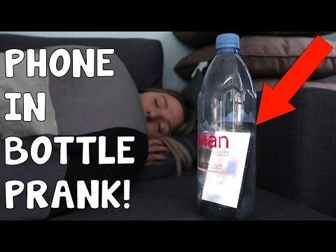 PHONE IN BOTTLE PRANK!! (SHE GOT SO MAD)