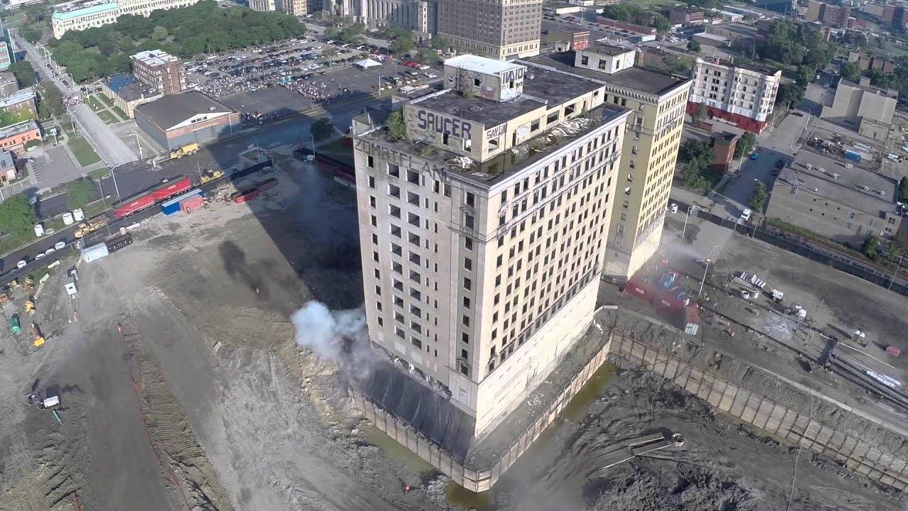 Park Avenue Hotel Implosion - Detroit, MI - Filmed by DJI Phantom 2 Drone -  Demolition