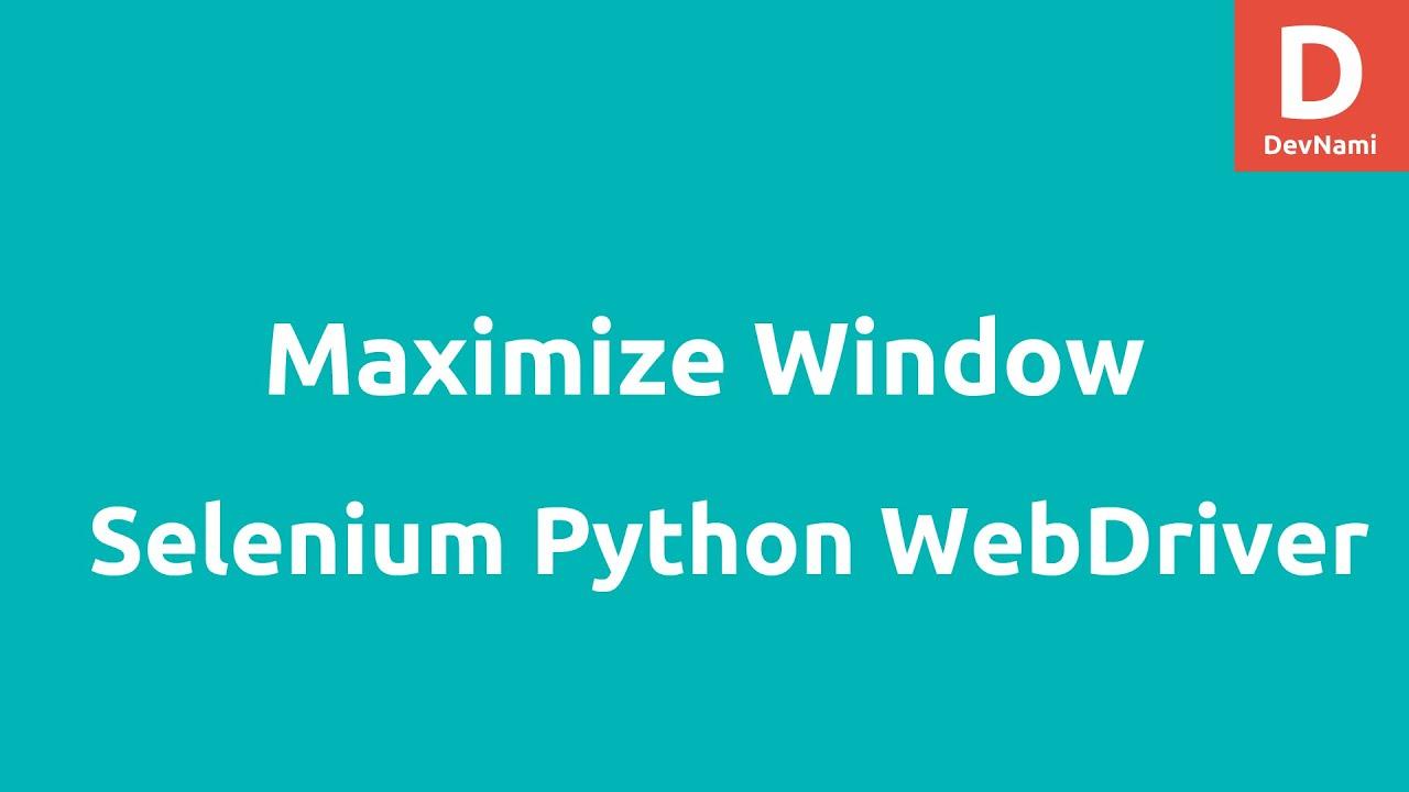 Python Selenium Re-size Maximize Window