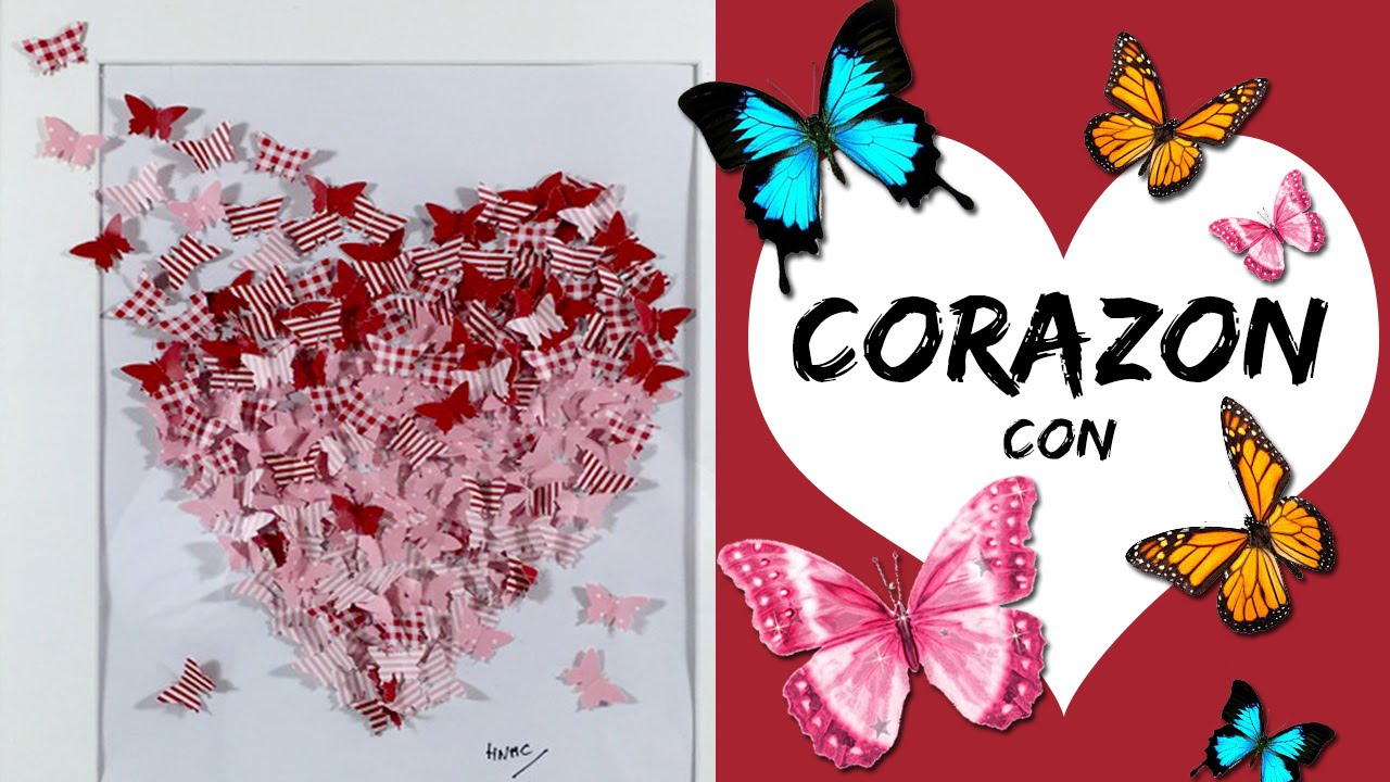 CORAZON con mariposas * CUADRO DECORATIVO San Valentín - YouTube
