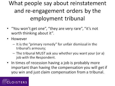 Unfair dismissal  Remedies Reinstatement and re engagement