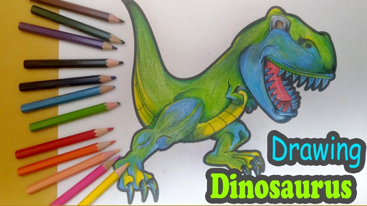 Menggambar Dan Mewarnai Dinosaurus How Coloring Page Dinosaur T Rex For Kids