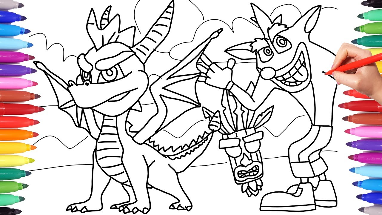 Spyro And Crash Bandicoot Coloring Pages For Kids Coloring Spyro The Dragon And Crash Bandicoot Youtube