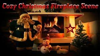 Cozy Fireplace Scene with Christmas Decorations (Snowy Tree, Santa, Snowman, Lamb)
