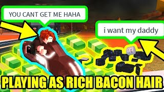 UNDERCOVER RICH BACON MAN makes COPS RAGE QUIT! | Roblox Jailbreak Volcano Update