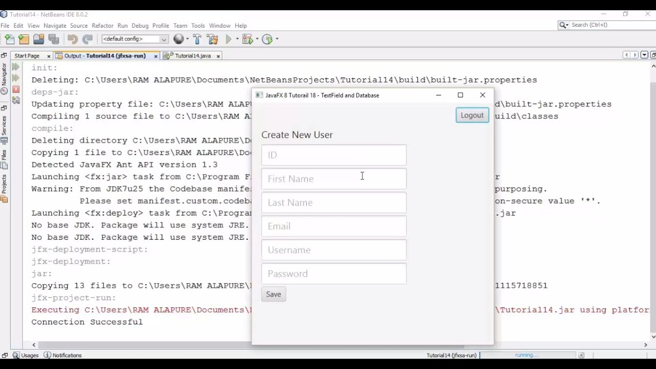 JavaFX 8 Tutorial 18 - TextFields and Database with Example of Creating New  User