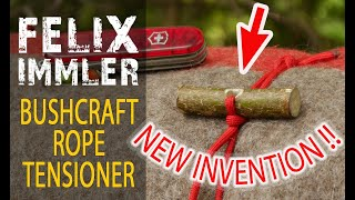 DIY Rope Tensioning Syṡtem - Super easy 3 minutes project - New invention - Bushcraft Rope Tensioner