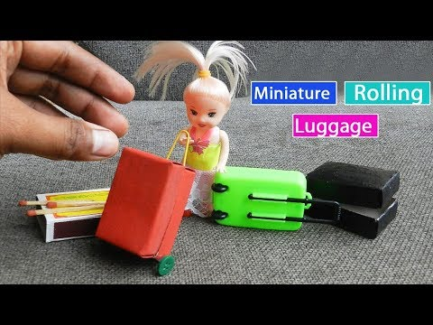 Miniature Rolling Luggage Toy for kids - Matchbox Crafts   Easy Doll Furniture DIY
