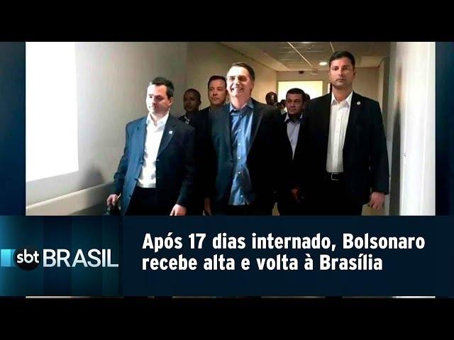 Após 17 dias internado, Bolsonaro recebe alta e volta à Brasília | SBT Brasil (13/02/19)