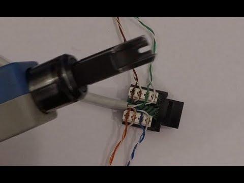 Подключение компьютерной розетки или панели. RJ45 CAT5