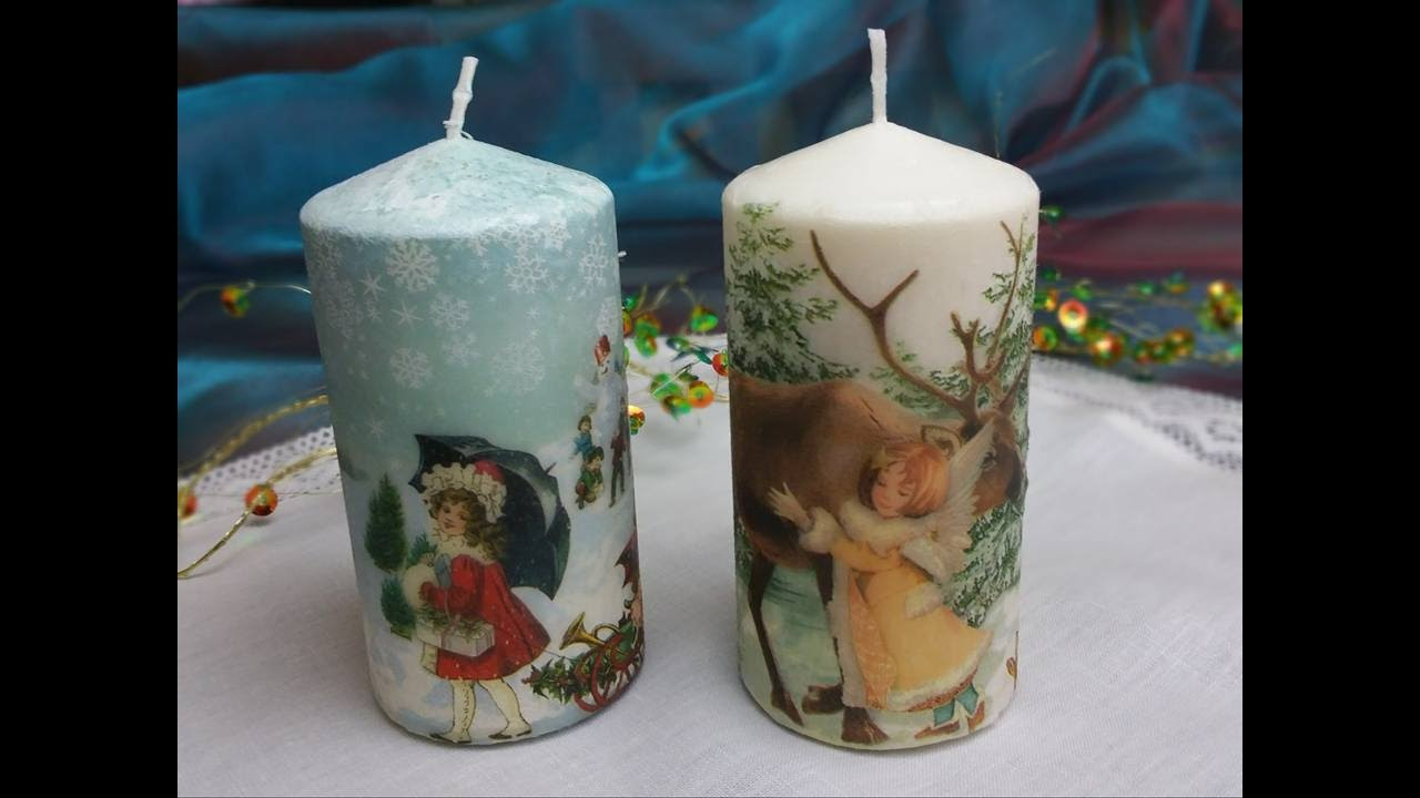 Candele decorate con trasferimento di immagineTutorial Decorate candles with paper napkins