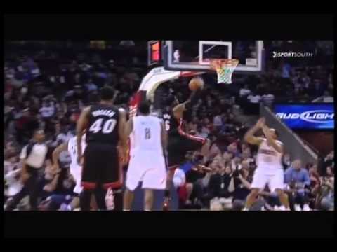 LeBron dunks so hard on Gerald Henderson's head the ball comes out of the basket and doesn't count