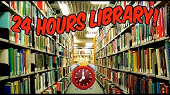 (SNEAKY!) 24 HOUR OVERNIGHT LIBRARY FORT⏰ | BEST 24 HOUR LIBRARY CHALLENGE SNEAKING AROUND OVERNIGHT