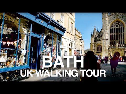 [4K] BATH ENGLAND WALKING TOUR - River Avon, Roman Baths & Royal Crescent